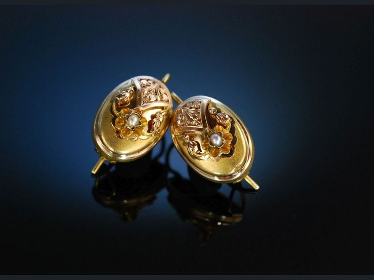 Prag um 1850! Ohrringe Gold 750 Saatperle feinstes Biedermeier! Antique Earrings, Antikschmuck bei Die Halsbandaffaire