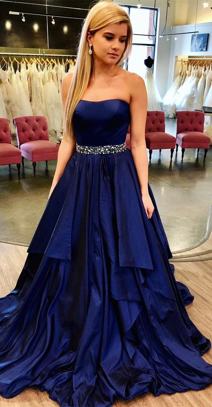 Gorgeous Strapless Navy Blue Long Prom Dress from modsele Long
