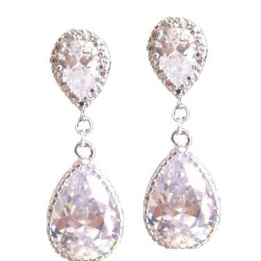 Crystal wedding pear drop earrings