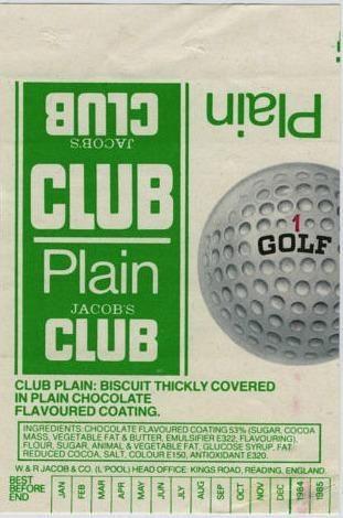 Jacob's Plain Club Biscuit 1980s wrapper