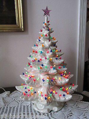 "Kitschy Christmas - Vintage White Pearl Atlanctic Mold Ceramic Christmas Tree 25"" Tons of Lights | eBay"