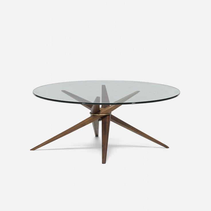 Guy Barker; Walnut, Glass And Brass Coffee Table For Dennett Barker, C1950.
