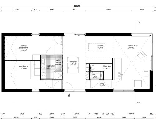 Morgen thuis plattegrond m bungalow woning shacks pinterest farm house country houses and - Moderne woning buiten lay outs ...