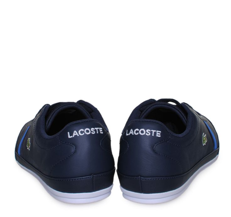 LACOSTE Dark Blue Leather Sneakers with Laces. Ανδρικά μπλε δερμάτινα sneakers με κορδόνια.