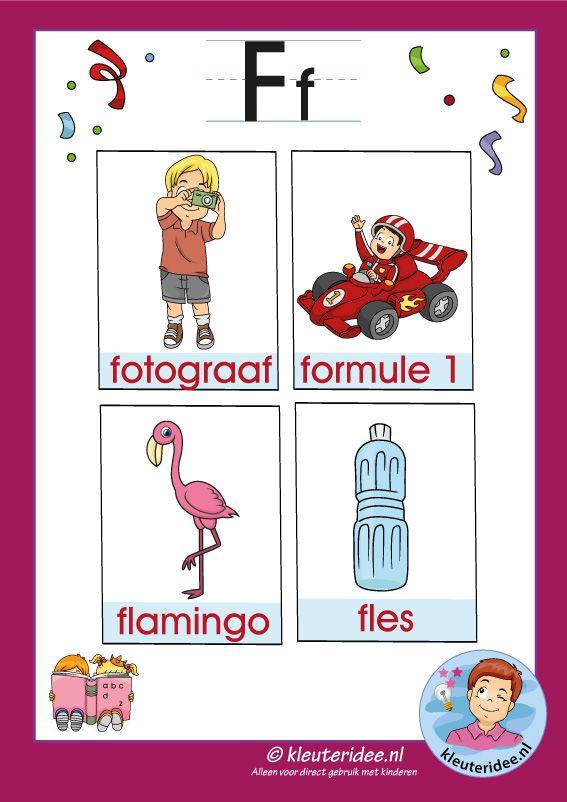 Pakket over de letter f blad 3a, woordkaarten met een f, kleuteridee, free…