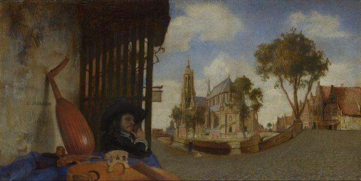 Делфтский пейзаж с продавцом музыкальных инструментов. (1652), Национальная галерея, Лондон. Карел Фабрициус ( Carel Fabritius; крещён 27 февраля 1622 — 12 октября 1654)