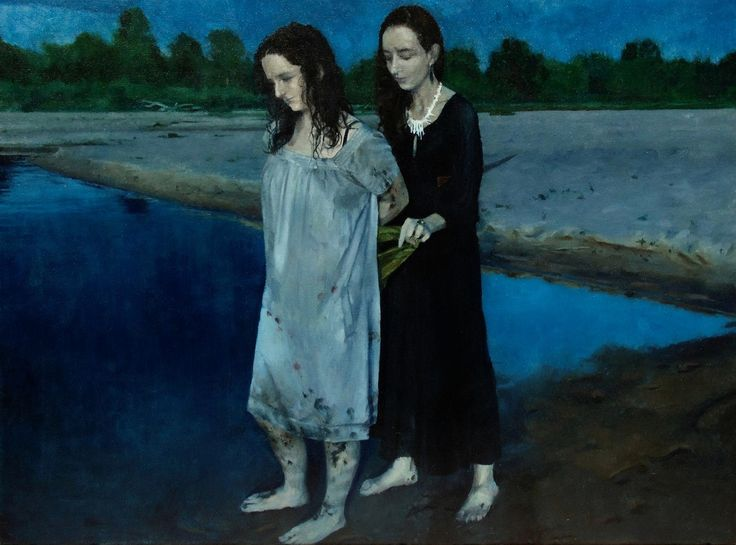 BY THE RIVER by Maria Danielak, 2017, oil on canvas, 70 x 50 cm.