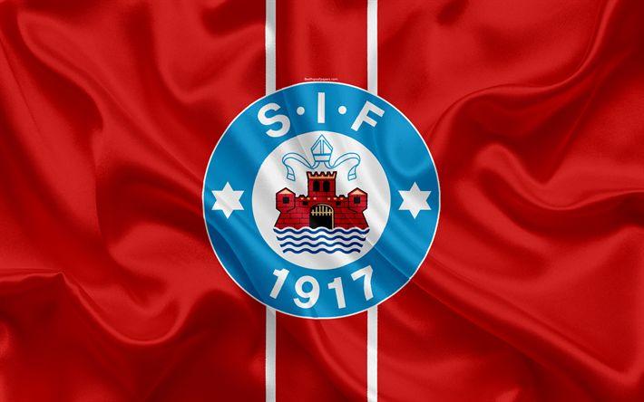 Download wallpapers Silkeborg FC, 4k, Danish football club, emblem, logo, Danish Superleague, football, Silkeborg, Denmark, silk texture