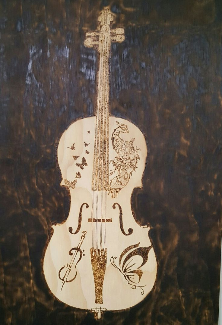 Cello pyrography by hady al hayek