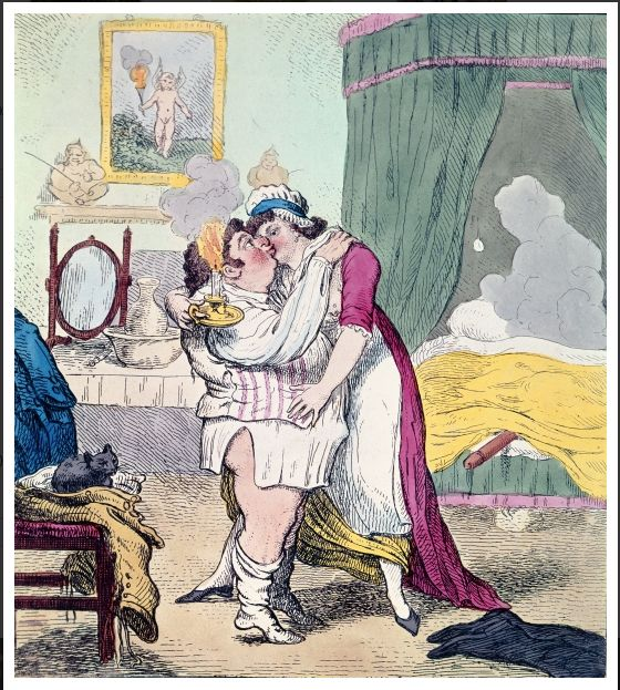 Caricature satirising the relationship of Charles James Fox and Elizabeth Armistead, c. 18th century. Probably by Gillray.