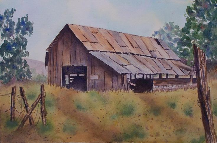 Barn wild grapes watercolor painting and art ideas for Watercolor barn paintings