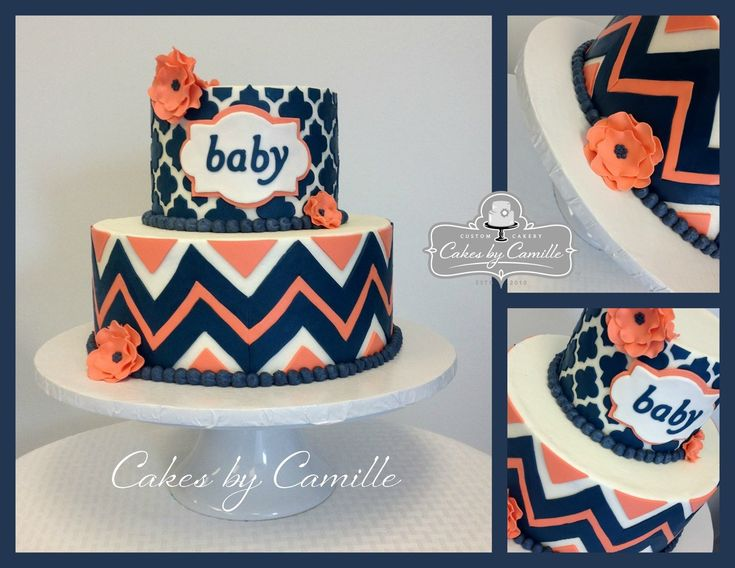 Chevron BABY shower cake. Navy and Coral Cake. Cakes by Camille