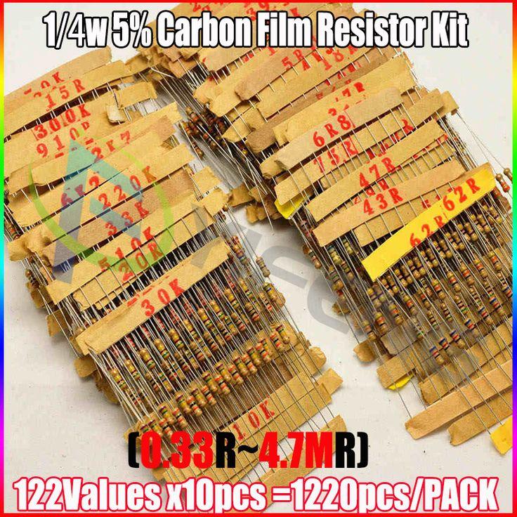 New! 1/4 Вт 0.25 Вт 122valuesx10pcs = 1220 шт. 0.33R ~ 4.7 М 5% Углерода Резистор Ассорти Комплект резистор Пакет купить на AliExpress