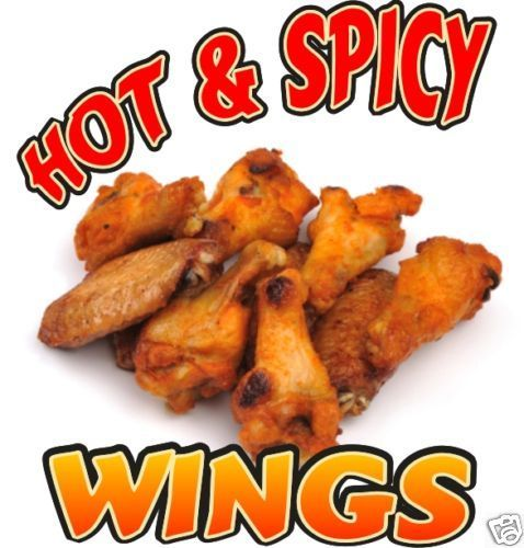 "Chicken Hot Wings Restaurant Concession Menu Decal 12"" #HarbourSigns"