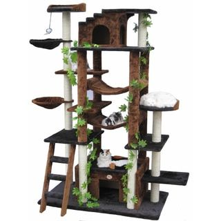 Give your cat countless hours of fun and games with this sisal playground cat tree. A high cat perch offers your feline companion an elevated place to survey his kingdom, and a cat cave provides respi