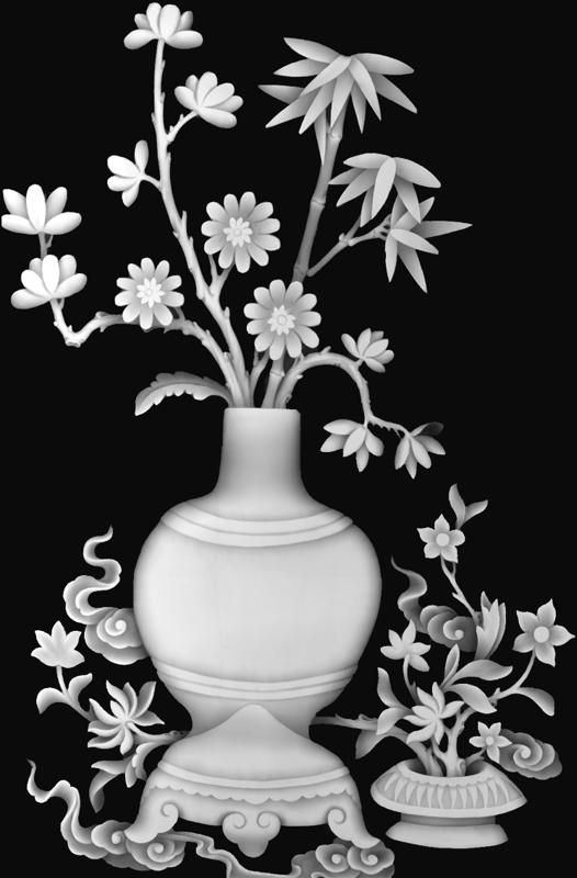 Bamboo Vase Grayscale BMP File | 3D Grayscale Relief ( bmp