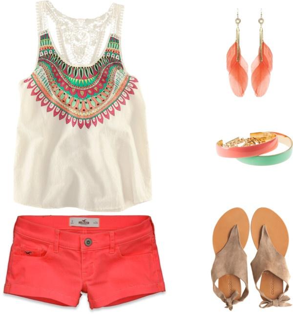 .: Summer Fashion, Summer Looks, Colors Shorts, Cute Summer Outfits, Summer Fun, Summer Colors, Summer Swag, Coral Shorts, Summer Clothing