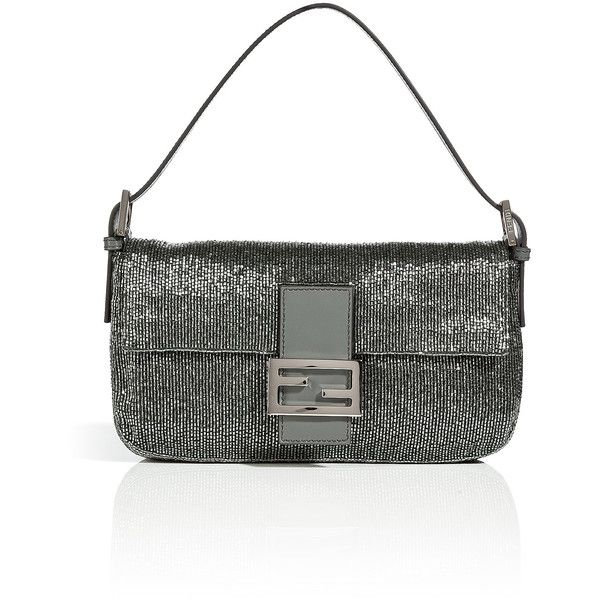 FENDI Sequined Baguette Bag in Grey ($1,195) ❤ liked on Polyvore featuring bags, handbags, fendi purses, grey handbags, special occasion handbags, fendi bags and sequin purse
