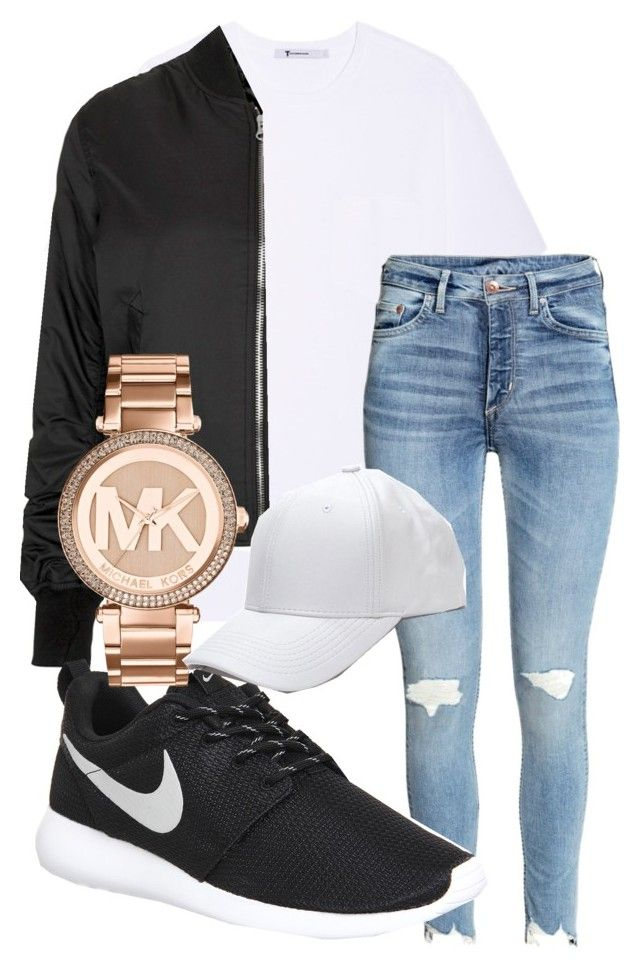 """winter falls outfit"" by rabiamiah on Polyvore featuring T By Alexander Wang, Topshop, NIKE and Michael Kors"