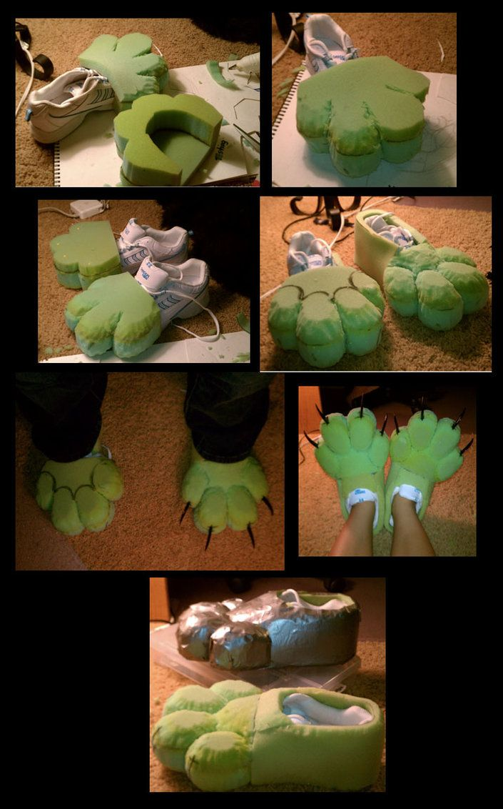 How to make fursuit paws Easy mode I only fix one, but the next one will come soon ;D Its a same one<3 1: First take a normal shoe then cut out toes from foam. 2: Glue the foam toes on. 3: Look ...