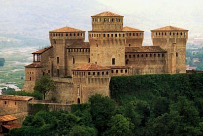 Torrechiara is a frazione of the comune of Langhirano, in the province of Parma, northern Italy. It is especially known for its massive castle, built by Pier Maria II Rossi, count of San Secondo, between 1448 and 1460.