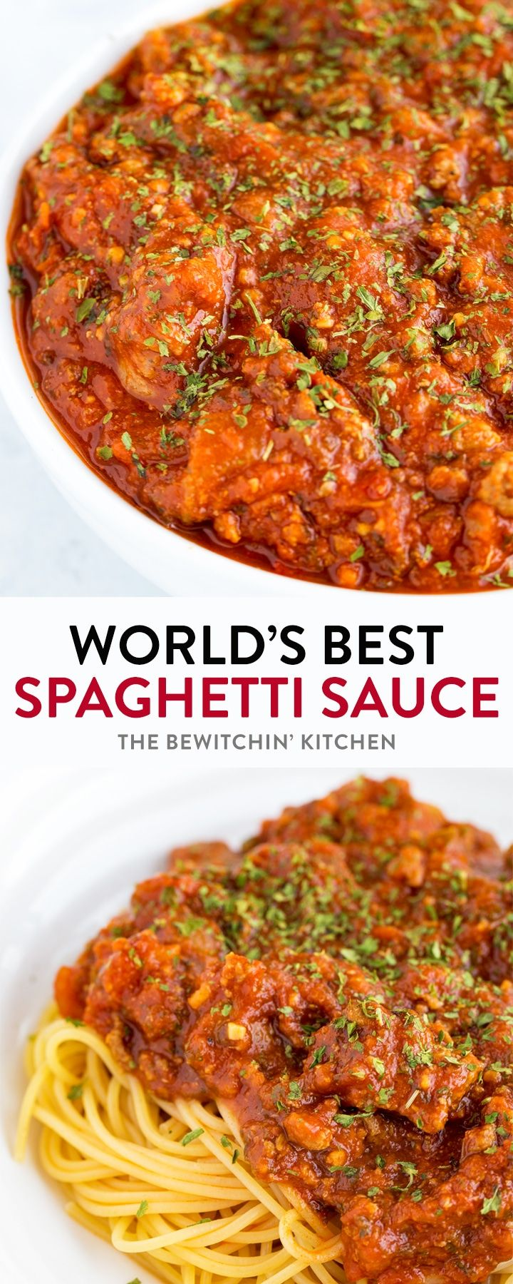 This homemade spaghetti sauce recipe is so darn good! It's easy, tasty, and very well could be the world's best spaghetti sauce ever! It makes a lot too! Enough to feed a crowd. Easy enough to throw in a slow cooker or Instant Pot too! #spaghettisauce #spaghettisaucerecipe #easyspaghettisauce #bestspaghettisauce