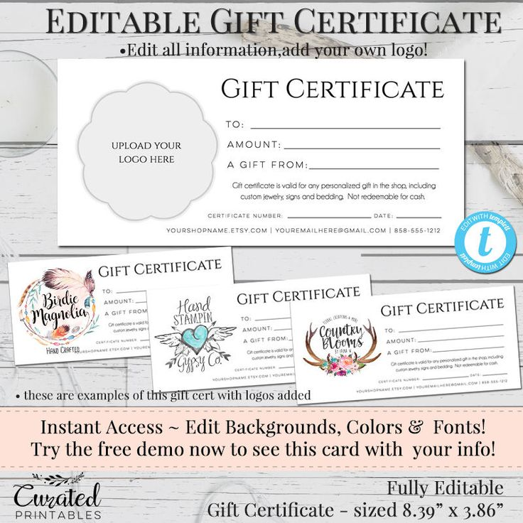 Gift Certificate, Add Your Logo, Printable Gift Cert, DIY Gift Certificate, Instant Download, Business Templates, Shop Voucher, Printable by CuratedPrintables on Etsy https://www.etsy.com/listing/580252500/gift-certificate-add-your-logo-printable