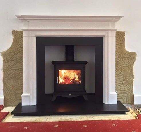 "Wood Burning Stove Installation with Limestone surround - Chesneys Beaumont 5kw - capital fireplaces Kensington 56"" limestone surround"