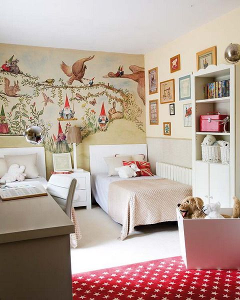 Room For Two Girls. Who would not love the painted gnomes on the wall.