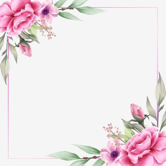 Cute Square Floral Frame For Cards Composition Floral Clipart Wedding Invitation Png And Vector With Transparent Background For Free Download Flower Frame Flower Backgrounds Floral Background