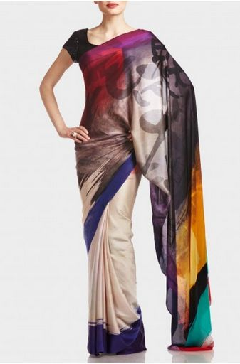 Multi-color ombre georgette Saree with brushstroke highlights from Satya Paul's SS'14 Collection, inspired by the ancient Japanese art of Sumi-e. Love this!
