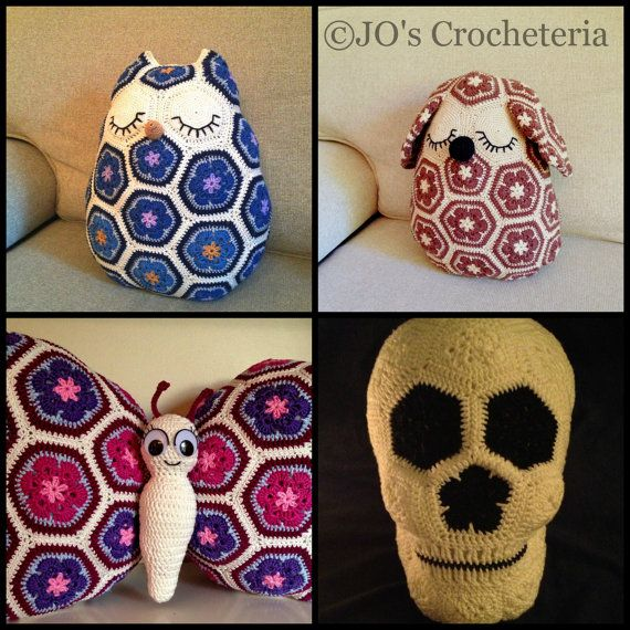$19.33 USD African Flower Crochet Pattern Big Pack Deal Maggie the Owl Mia the Dog, Tess the Butterfly and Lucy the Skull, all African flower pillows made by JOsCrocheteria, kr125.00. #crochet pattern #African flower #dog #owl #skull #butterfly #JO's Crocheteria # Etsy