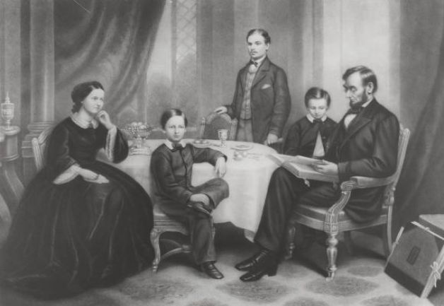 Lincoln Family Portrait: This illustration shows Abraham Lincoln with his wife, Mary Todd Lincoln and their three sons - Willie (seated), Robert, (the eldest) and Thomas, (Tad) the youngest.