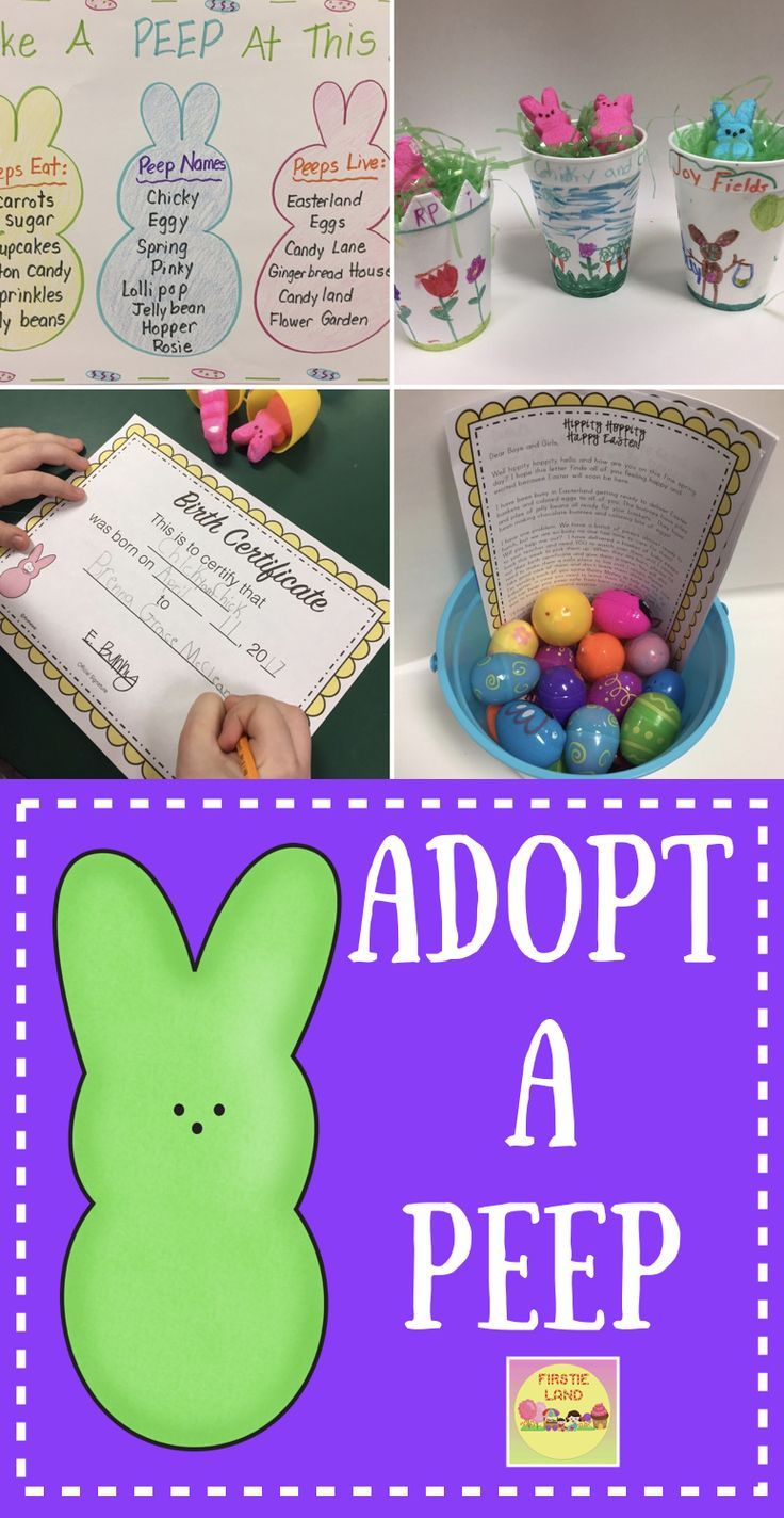Peep Activities for Kids - Adopt A Peep Easter writing activity is a fun activity for your students that includes a printable birth certificate, Peep Baby Book, writing templates and letter from the Easter Bunny.