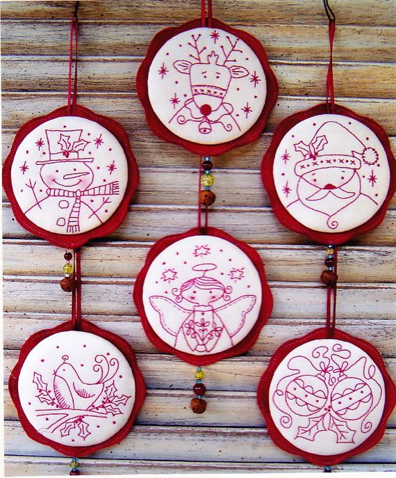 PATRON - Jingly boucles choses - douce redwork Christmas ornements PATTERN - souvenirs de pays