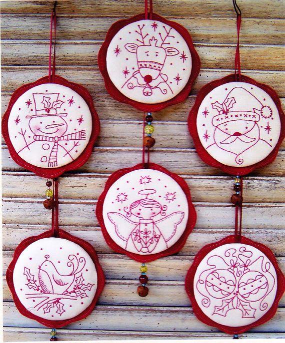 PATRON - Jingly boucles choses - douce redwork Christmas ornements PATTERN - souvenirs de pays