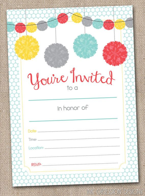Fill in printable party invitations instant download for Bridal shower fill in invitations