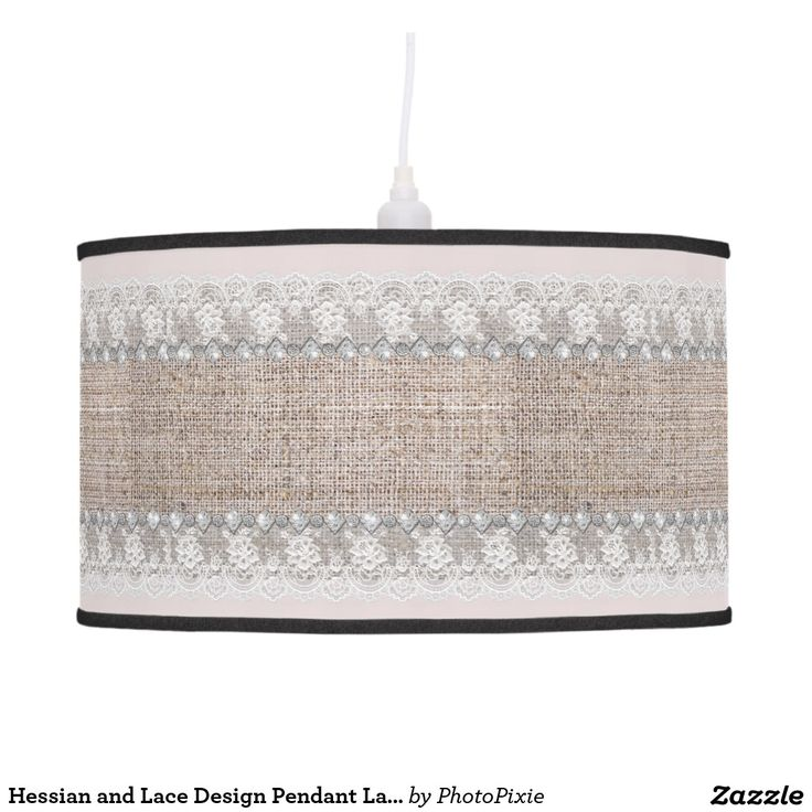Hessian and Lace Design Pendant Lamp