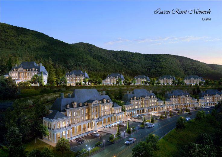 "works: 호텔&리조트 프로젝트.. ""DAEMYUNG LUCEEN HOTEL&RESORT"" 대명루첸 호텔&리조트에 저장했습니다. Village Town (Baroque Style), ""DAEMYUNG LUCEEN RESORT : Culture Theme Resort CG Perspective View / ""대명 루첸 리조트"" 빌리지 타운. 투시도"