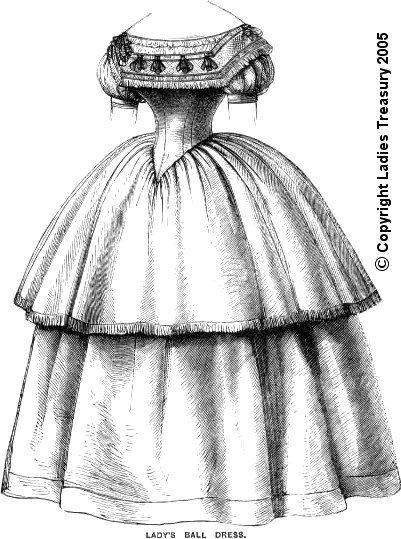 Doll's therapy. Для заболевших куклами.  Бальное платье. Выкройка 1857 года.