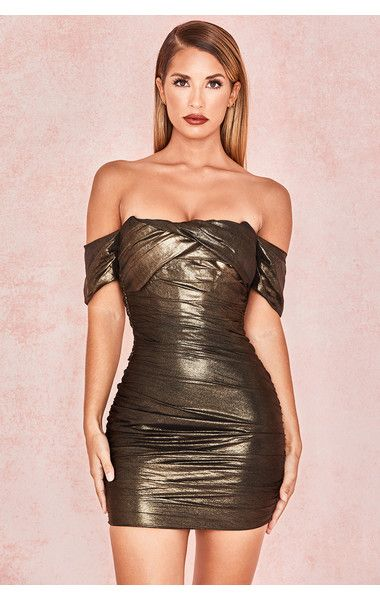 b882e6f9dfc3 House of CB Ilaria Metallic Bronze Overlaid Chiffon Mini Dress ...