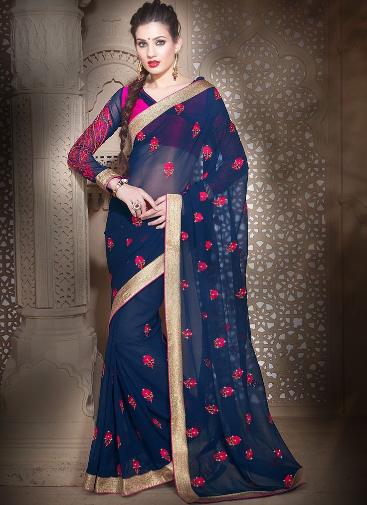 Outstanding Navy Blue Faux Georgette Saree