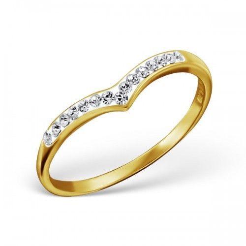 Glamouröser Ring Goldfarbendem aus 925er Sterling Silber Ringgröße 49