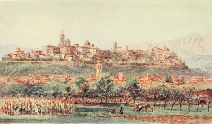 View of Bergamo. Watercolour by William Wiehe Collins (1862-1951)