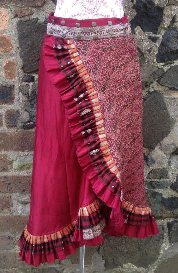 L-XL Fire Goddess Long Sari Silk Ruffle Skirt by BaroccoTribal
