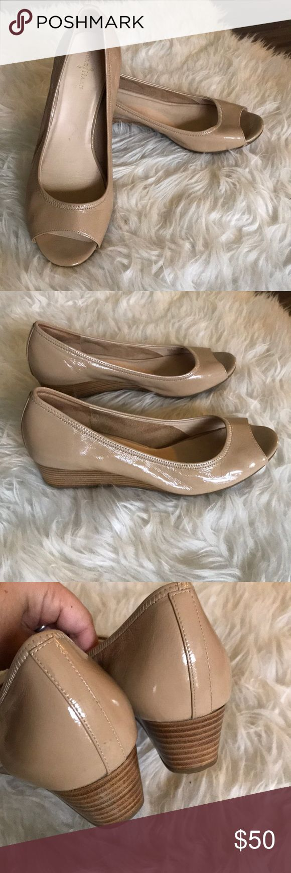 Cole Haan nude patent leather wedges Lovely pair of Cole Haan wedges. Patent leather body with wood wedges. Wedge height 1.5. Peep toe front. These are so pretty. Nike air technology makes these comfortable and stylish! Cole Haan Shoes