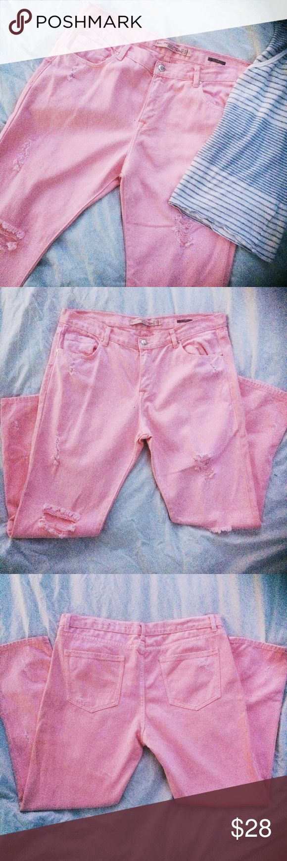 Zara Distressed Pink Slim Jeans Zara Trafaluc Premium Wash Slim Jeans in Pink. These are distressed as shown in pictures. Size 8. Perfect for spring and summer fundays. Zara Jeans Skinny