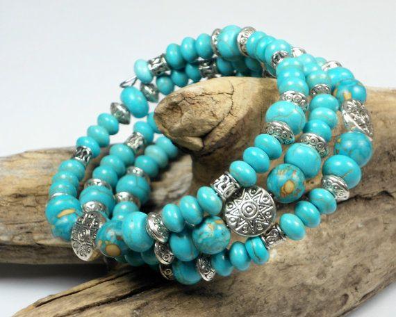 Turquoise Bead Bracelet, Memory Wire Bracelet, Boho Bracelet, Wrap Bracelet, Southwestern Bracelet, Stacked Bracelet