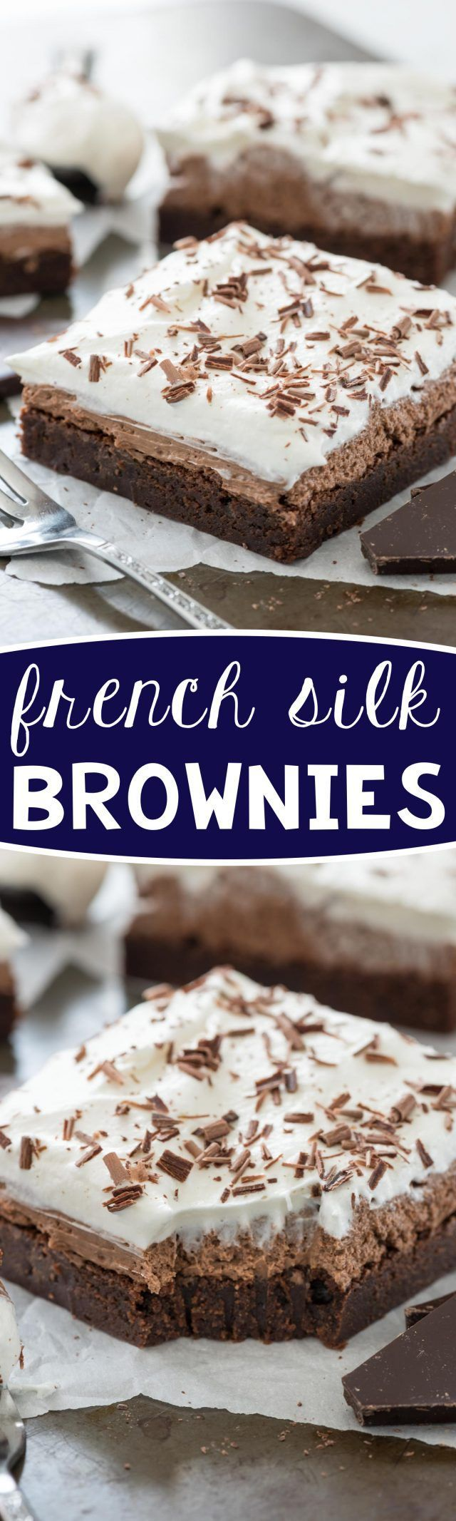 French Silk Brownies Recipe - make this an easy recipe by using a box brownie mix! The french silk recipe is egg-free. Everyone loved this recipe - it's EPIC!