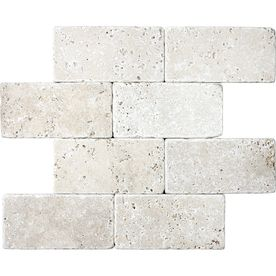 �8-Pack Chiaro Tumbled Marble Natural Stone Wall Tiles (Common: 3-in x 6-in; Actual: 3-in x 5.87-in)